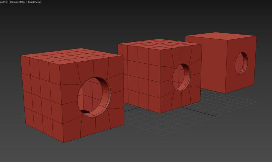 3ds max modelowanie otwory okragle proboolean